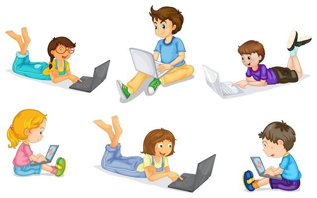 vector kids computer image